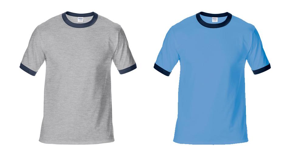 180g撞色领成人圆领短袖T恤